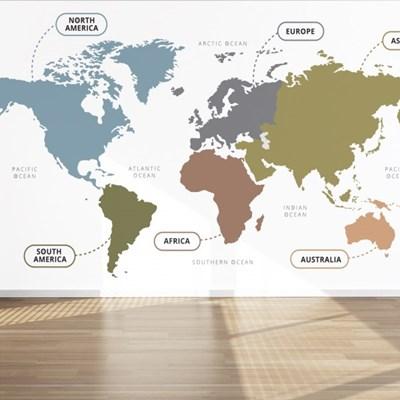 세계지도 뮤럴아트 아트월페이퍼 접착식벽지 월드맵