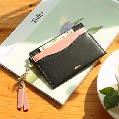 [오팔스톤키링+카드지갑세트]Dear you card wallet(black/pink)