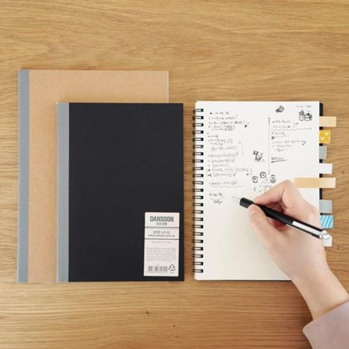단순생활 디자인문구 스프링 무지노트 크라프트 블랙