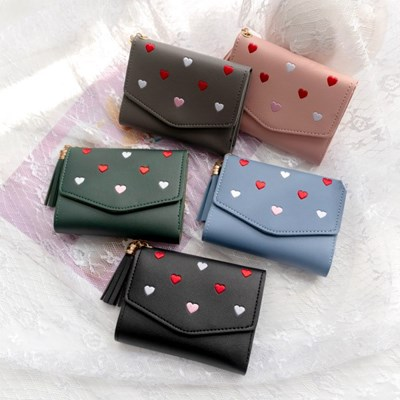 여성지갑 퀼트 자수 패턴 반지갑 하트