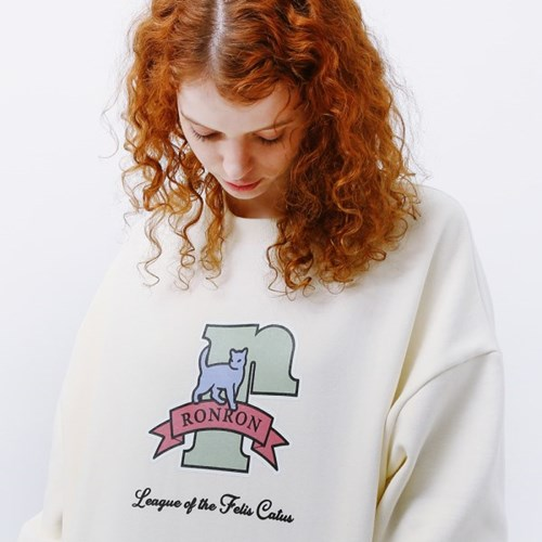 PASTEL CAT LOGO SWEATSHIRT CREAM