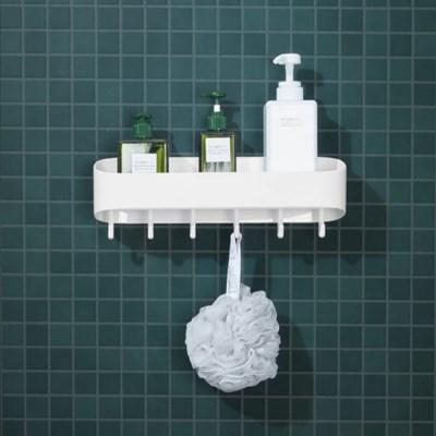 리빙홈 부착식선반 (화이트) / 후크형 소품선반