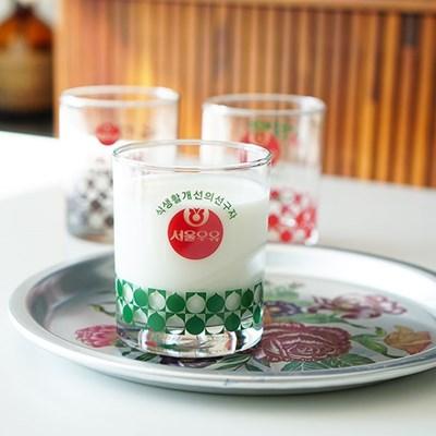 [본사정품] 서울우유 레트로 빈티지유리컵 흰/딸기/초코