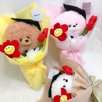 학사모 비숑 인형 꽃다발
