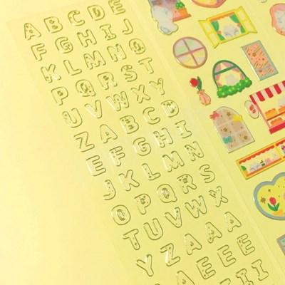 투명도100% - Alphabet 투명금테 칼선 스티커