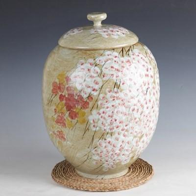 분청 귀얄 벚꽃 쌀독 20kg 쌀항아리 소금항아리