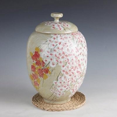 분청 귀얄 벚꽃 쌀독 10kg 쌀항아리 소금항아리