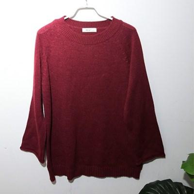 [균일가] 버건디 롤업 스웨터