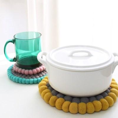 양모펠트 방울 컵받침 냄비받침-3color