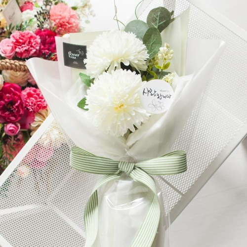 폼폼 카네이션 꽃다발 50cm P4 조화 어버이날 스승의날 선물 감사