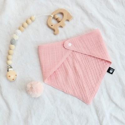 턱받이 거즈턱받이 핑크 아기 침받이 빕