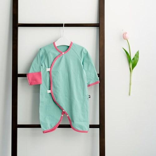 배냇슈트 투톤민트 아기 배냇가운 신생아 배냇저고리