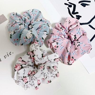 [3개세트][3color] 플라워 패턴 꽃 헤어슈슈 곱창 머리끈
