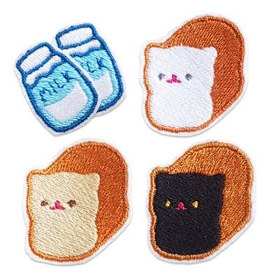 고양이식빵 우유 와펜 세트