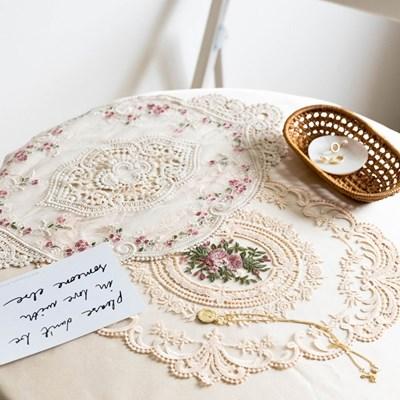 플라워 레이스 코튼 식탁 탁자 테이블 매트 인테리어매트