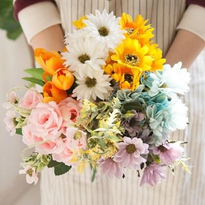 (3+사은품) 러블리 플라워 부쉬 6종 조화 인테리어 꽃_(1755445)