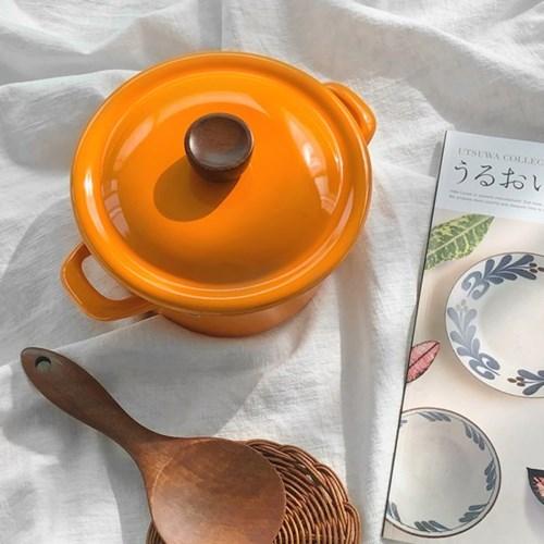 에지리 인덕션 법랑 양수냄비 16cm / 오렌지(ECC-16W)