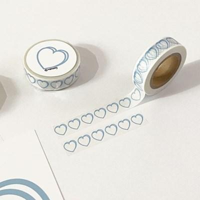 heart masking tape (line_sky)