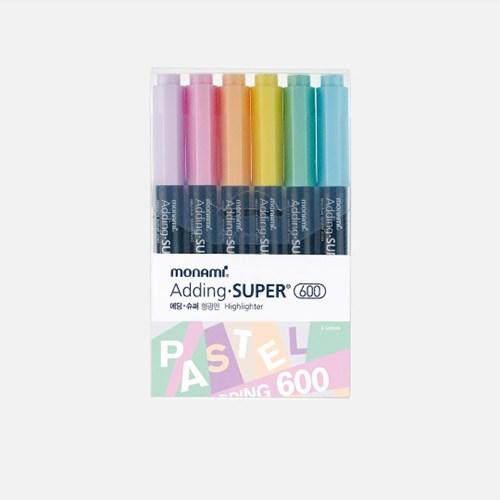 에딩슈퍼 형광펜 600 6색 세트 (Pastel)