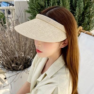 라피아 썬캡 자외선 차단 라탄 선바이저 모자
