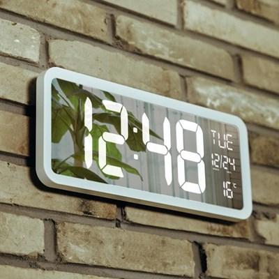 오리엔트 OT874WH 빅 클린 미러 화이트LED 디지털벽시계/탁상시계(월