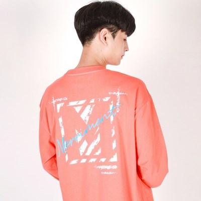 (UNISEX)Crack M Lettering T-shirt(CORAL)