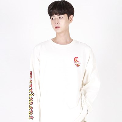 (UNISEX)Flame M Lettering Long-Sleeve T(IVORY)