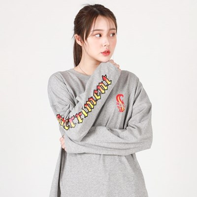 (UNISEX)Flame M Lettering Long-Sleeve T(GREY)