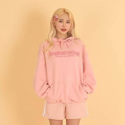 [체리콘] 솜사탕 볼록자수 후드티 핑크