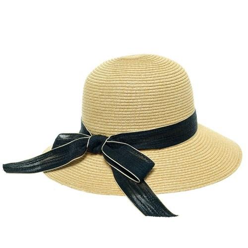 [플릭앤플록]ICP11.배색리본 밀짚 여성 큰챙 여름 모자