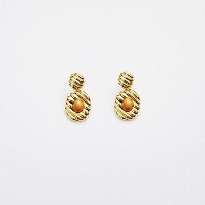 Diagonal Vintage Brown Earring