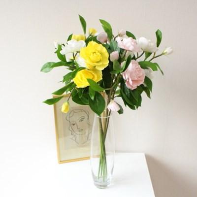 향수를 품은 고급 까멜리아(동백꽃)인테리어 조화꽃장식(3color)