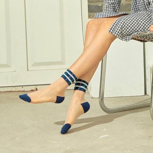발목 체크패턴 포인트 시스루 패션양말 BIZ_030