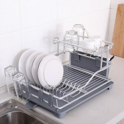 베이직 식기건조대 물빠짐 2단 싱크대 설거지 그릇 정리대