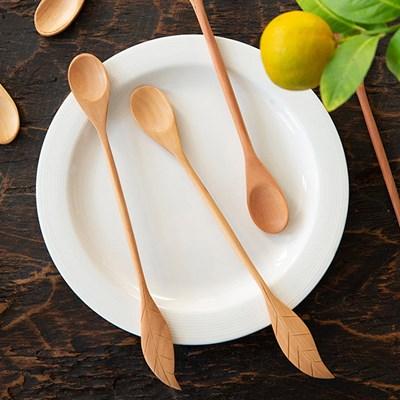 과일나무 나뭇잎 롱티스푼(연한색)