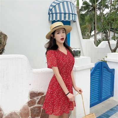 쉬폰 러블리 셔링 도트 레드 플레어 햅번 스트링 원피스