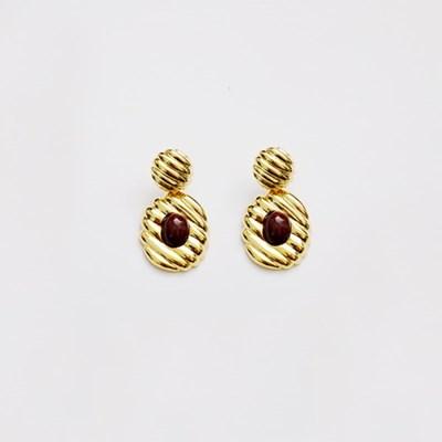 Diagonal Vintage burgundy Earring (귀찌가능)