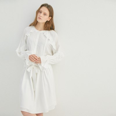 WHITE LILLY FRILL DRESS (WHITE)