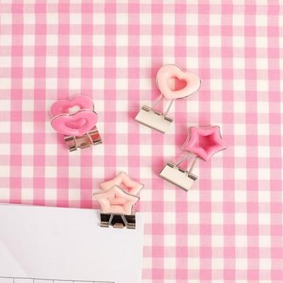 플리징 사무용품집게 문구용품클립 핑크 빅사이즈 집게 - 4종