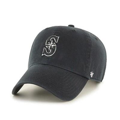 47브랜드 MLB모자 시애틀 블랙 블랙화이트라인빅로고