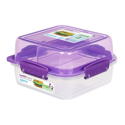 시스테마 BPA-free 사각 스텍 밀폐형 런치박스 2단 도시락통1.24L 퍼