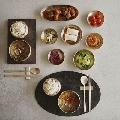 놋담 방짜유기 율 2인 유기그릇 반상기세트 보자기 선물포장