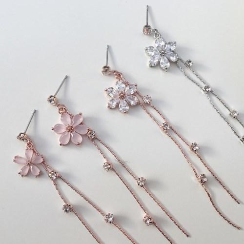 실버문 벚꽃 드롭귀걸이 핑크 벚꽃, 크리스탈 벚꽃_(133579)