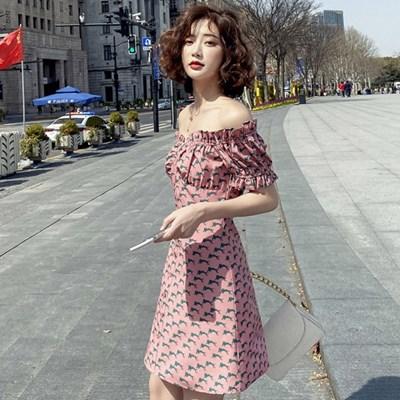오프숄더 슬림 플레어 섹시 바캉스 데이트 미니 원피스