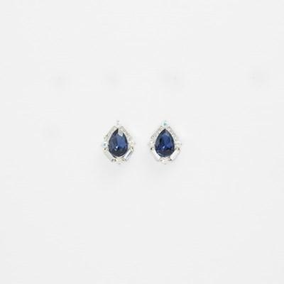 [쥬디앤폴] 떼르 사파이어 블루 물방울 귀걸이 E51413