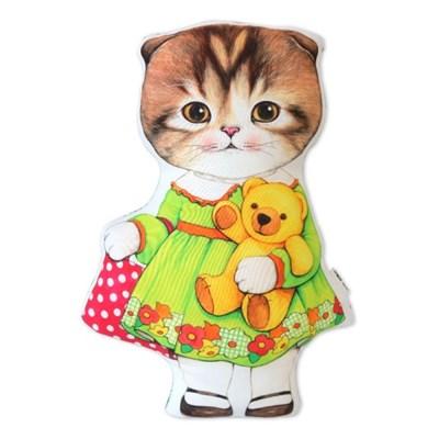 고양이삼촌 쿠션 - 곰돌이인형과 마롱