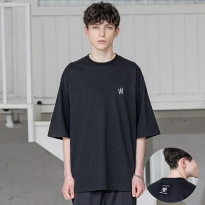 매스노운 시그니쳐 오버사이즈 반팔 티셔츠 MSZTS004-BK