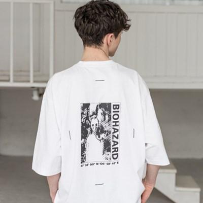 매스노운 SL 로고 바이오하자드 오버사이즈 반팔 티셔츠 MSZTS001-WT