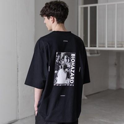매스노운 SL 로고 바이오하자드 오버사이즈 반팔 티셔츠 MSZTS001-BK