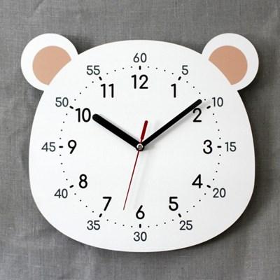 무소음 어린이 교육용 벽시계 곰